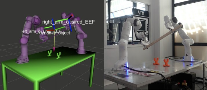 The two Pandas robotic arm at LAAS-CNRS (France) demonstrating cooperative manipulation capabilities