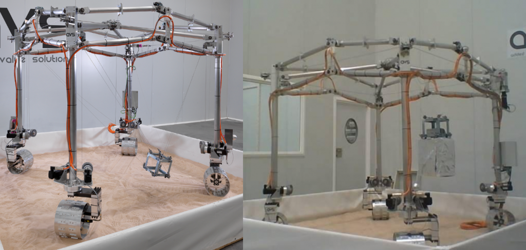 (Left) Mobile Gantry and its cables-actuated End Effector (Right) Carrying an object at AVS (Spain)